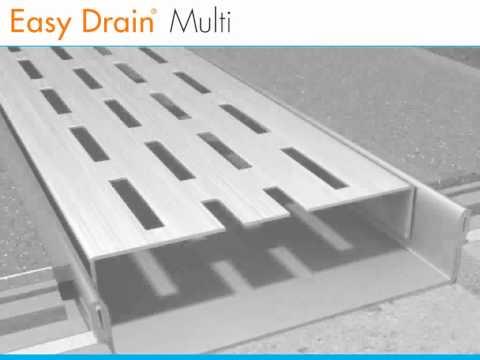 Easydrain Multi inbouwdeel 90 cm. onderuitloop zonder rooster rvs