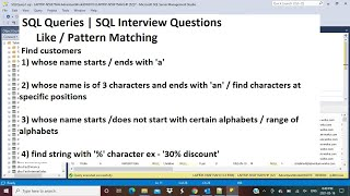 SQL Interview Query | Find names that start/end with 'a' | More examples | Like | Pattern Matching