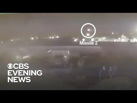 Video shows Iranian missiles striking Ukrainian jet