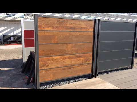 HPL Steckzaun Cortenstahl mit anthrazit farbenen Zwischenleisten     www.hpl-shop24.de