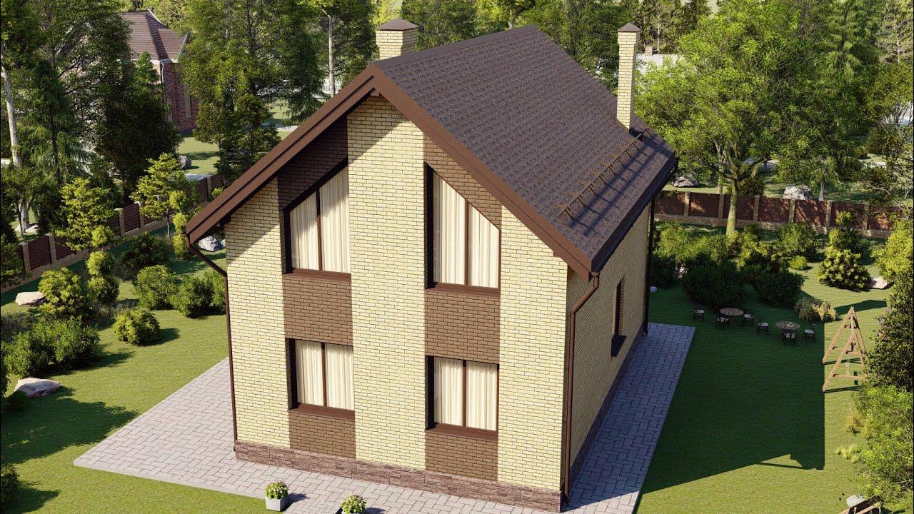 Проект маленького дома с мансардой. Площадь дома 120 м2
