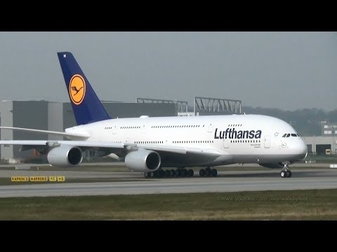 Two Planes On The Runway / Takeoff Of Lufthansa A380 D-AIMK For Delivery Flight Mp3