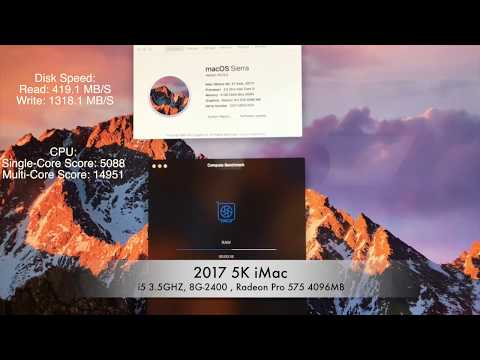 """2017 iMac 5K 27"""" i5 3.5GHZ, 8G-2400 , Radeon Pro 575 4096MB"""