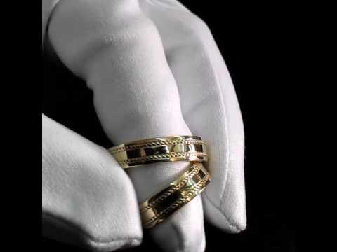 Классические обручальные кольца с косичкой из жёлтого золота 585 пробы. Вес пары 13 гр. Арт i3324