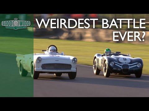 Weirdest battle ever? Bonkers battlebird v beautiful Jaguar C-type at Goodwood