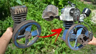 I turn Old Compressor into 4 Stroke Working Engine