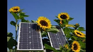 Альтернативная энергия, солнечная электростанция в селе.