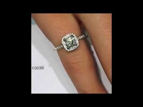 Round Diamond Engagement Ring in Square Edged Halo