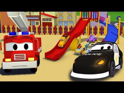Bilpatrullens brandbil och polisbil: Kraschen på rutschbanan Bil- &amp lastbilsserier för barn