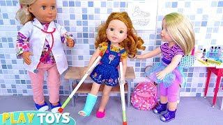 Baby Doll Cast for Broken Leg from Doctor Visit!