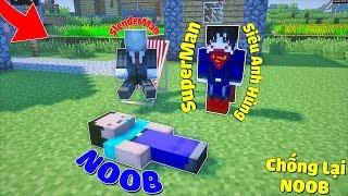 GIÚP BẠN THÂN ĐÁNH BẠI NOOB BẰNG SỨC MẠNH SIÊU ANH HÙNG SUPERMAN TRONG MCPE | Thử Thách SlenderMan