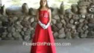 Red Satin A-line Flower Girl Dress - Jasmine