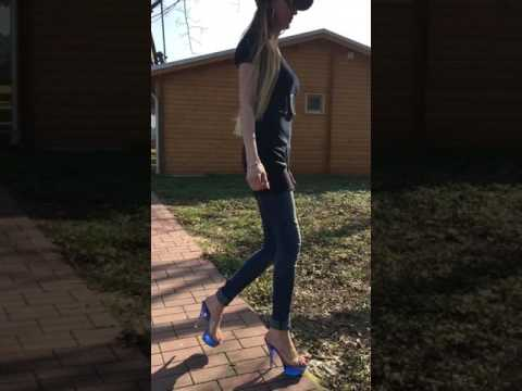 "Lara in clear blue high heels Part III 6"" inch 15cm hoch"