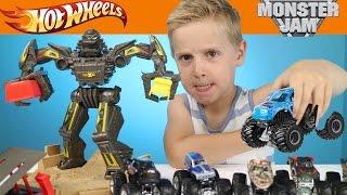 Hot Wheels Cars - Monster Jam Monster Trucks Maximum Destruction Race Playset Toys Review by KIDCITY
