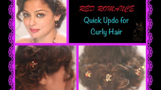 Quick Updo For Curly Hair | Hair Style Tutorial - Red Romance