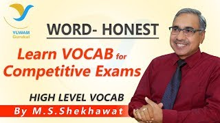 Vocab for Competitive Exams | HONEST | Yuwam | High Level Vocab | English | Man Singh Shekhawa