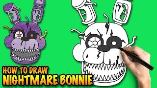 How to draw Nightmare Bonnie - FNAF - Easy step-by-step drawing tuturial
