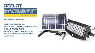 Solar Powered Outdoor Security Light - Remote Control PIR LED
