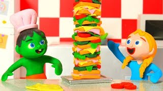 KIDS MAKING SUPER SANDWICH ❤ PLAY DOH CARTOONS FOR KIDS