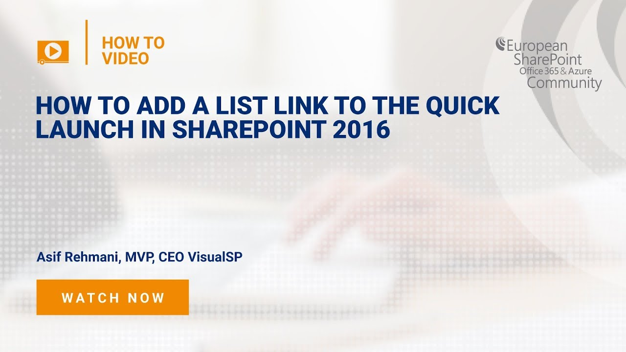 How to add a list link to the Quick Launch in SharePoint 2016