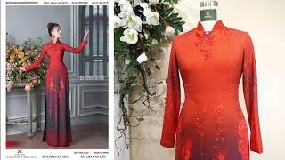 Mẫu áo dài màu đỏ kết hợp chuyển màu đen đẹp, quý phái dành cho bà sui | Áo Dài Đỗ Trịnh Hoài Nam