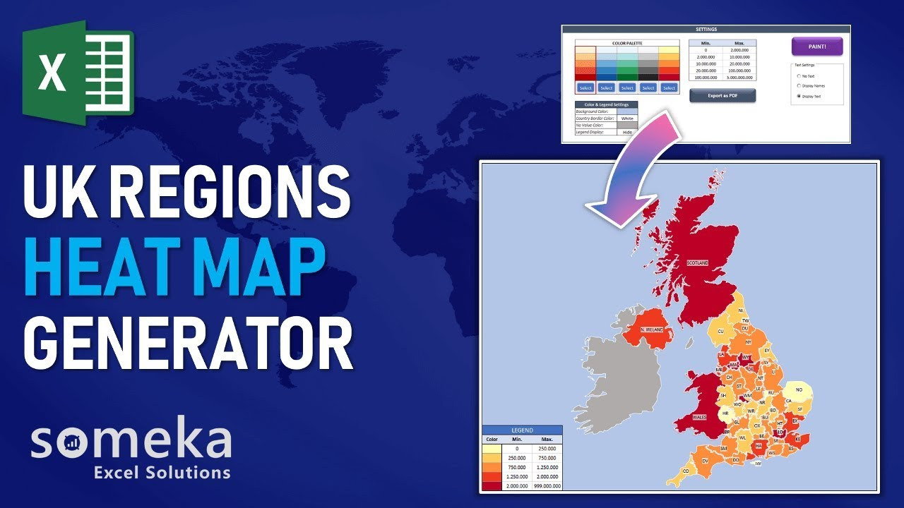 uk heat map excel template   county coloring