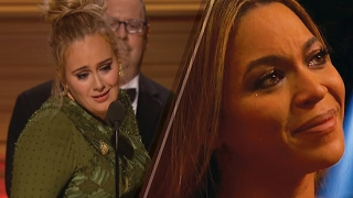Adele REFUSES Album of the Year Award at 2017 Grammys, Makes Beyonce CRY w/ Sweet Acceptance Speech