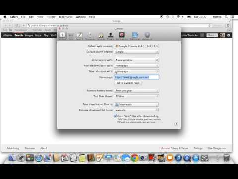 How to set google as your homepage on a MAC
