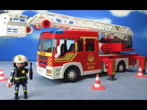 Playmobil Feuerwehr deutsch: Leiterfahrzeug Feuerwehrauto für Kinder