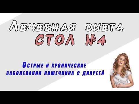 Лечебная диета СТОЛ №4 Острые и хронические заболевания кишечника с диареей