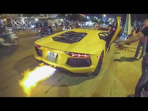 """Siêu xe Lamborghini Aventador 25 tỷ của Gia Lai team """"khạc lửa"""" trên phố Sài Gòn"""