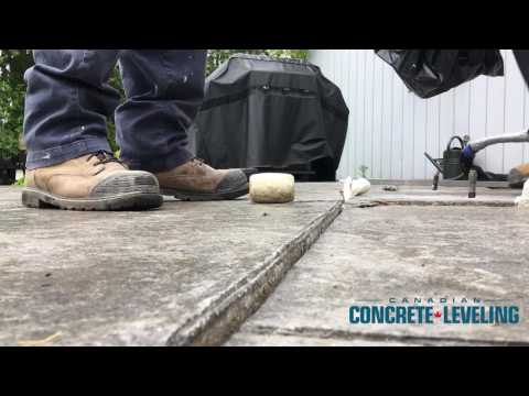 A concrete slab patio was uneven, and had sunk a few inches. The home owners couldn't enjoy their beautiful backyard as easily knowing that themselves or their guests may trip and fall over the uneven surface. Canadian Concrete Leveling fixed their issue no problem. We injected our Polylevel foam and leveled out the surfaces in under an hour. The process was non intrusive, cost effective, and the product has a 10 year warranty. The customers were ecstatic, and can now enjoy their backyard without worrying that people will fall.