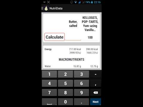 NutriData - App for controlling the caloric value (calorie) and nutritional information of foods