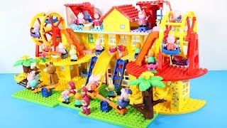 Peppa Pig Blocks Mega House With Water Slide Toys For Kids - Lego Duplo House Building Toys #6
