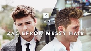 Zac Efron Messy Hair | Medium Length Mens Hairstyle