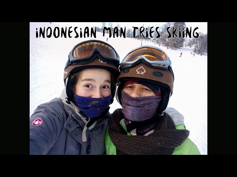 Indonesian Man Tries Skiing [obviously First Time] - Part 1