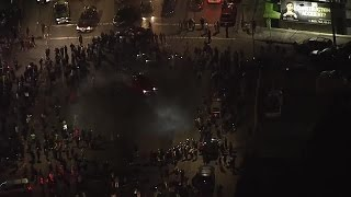 WARRIORS FAN CELEBRATION: Fans celebrate Warriors victory with a sideshow and bonfire.