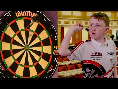 11 Year Old Darts Wonderkid Finishes a 156 On Masters Stage