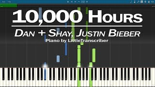 Dan + Shay, Justin Bieber   10,000 Hours (Piano Cover) Synthesia Tutorial By LittleTranscriber