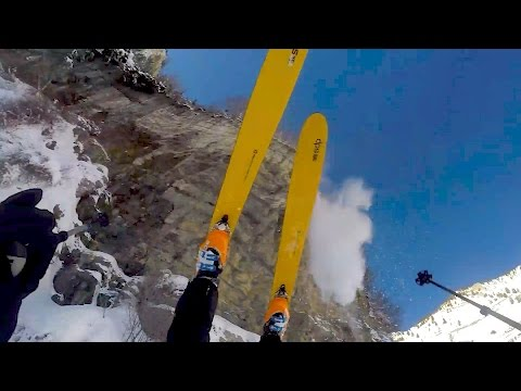 MAN SKIS OFF CLIFF AND SURVIVES!!!