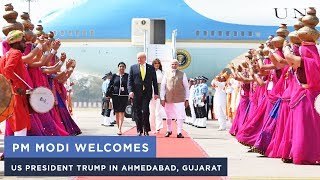 PM Modi welcomes US President Trump in Ahmedabad, Gujarat