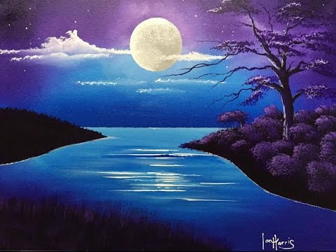 #42. acrylic moon over lake