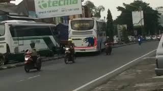 preview picture of video 'Bus Rajawali Nekad Lompati Beton Pembatas Jalan Kembali Ke Jalurnya'