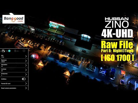HUBSAN ZINO H117s 4K UHD drone -Part 8: 4K ISO 1700 raw video at night above town