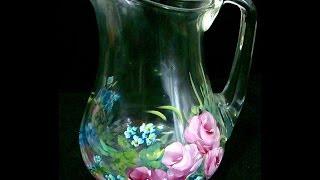 Pintando Rosas – jarra de vidro