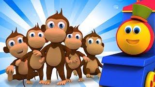 Bob el tren | cinco pequeños monos | niños rimas | Five Little Monkeys