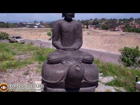 Large Stone Buddha Statue Meditating on Turtle 78