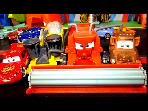Disney Pixar Cars FRANK And BESSIE From The Cars Character Encyclopedia, Mater And Lightning McQueen