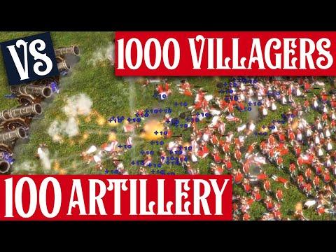 1000 Villagers vs 100 Artillery | Age of Empires III