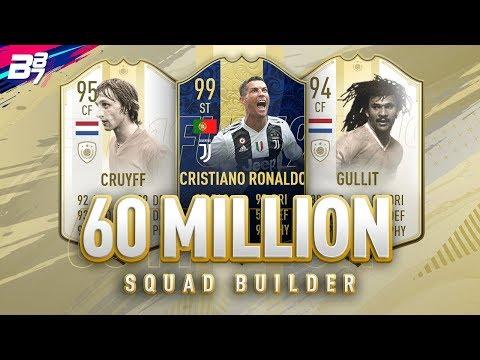 60 MILLION COIN SQUAD BUILDER w/ PRIME ICON MOMENTS | FIFA 19 ULTIMATE TEAM